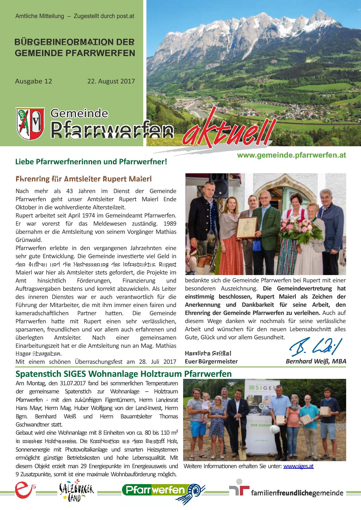 Bürgerinformation Ausgabe 122017 Gemeinde Pfarrwerfen